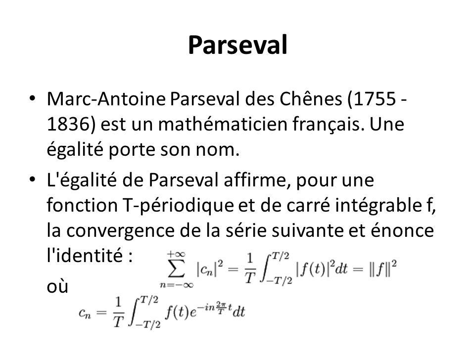 Parseval Marc-Antoine Parseval des Chênes (1755 - 1836) est un mathématicien français. Une égalité porte son nom.