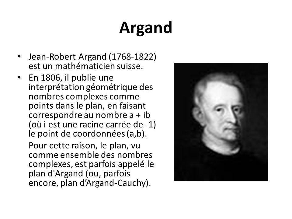 Argand Jean-Robert Argand (1768-1822) est un mathématicien suisse.