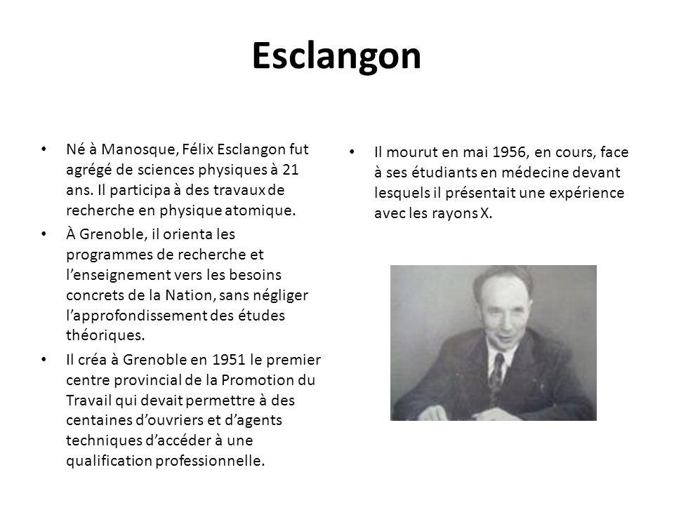 Esclangon Il mourut en mai 1956, en cours, face à ses étudiants en médecine devant lesquels il présentait une expérience avec les rayons X.