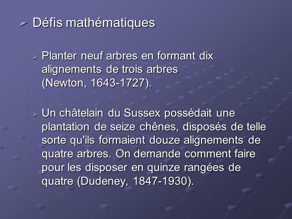 Défis mathématiques Planter neuf arbres en formant dix alignements de trois arbres (Newton, 1643-1727).
