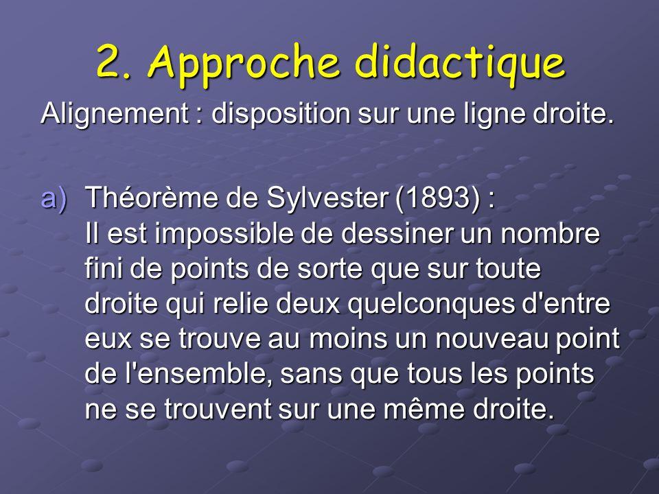2. Approche didactique Alignement : disposition sur une ligne droite.