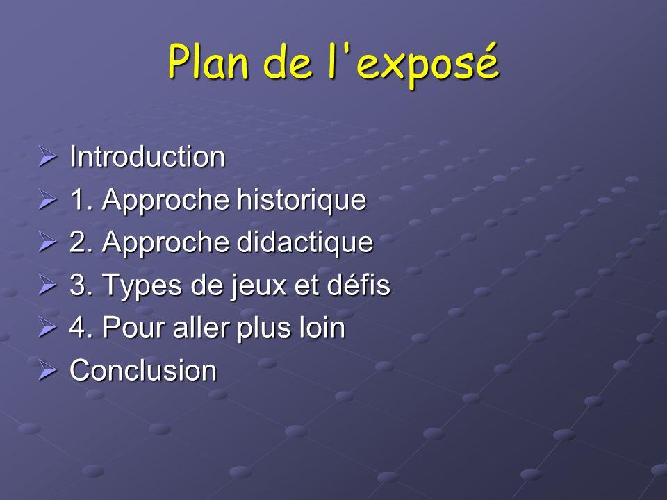 Plan de l exposé Introduction 1. Approche historique
