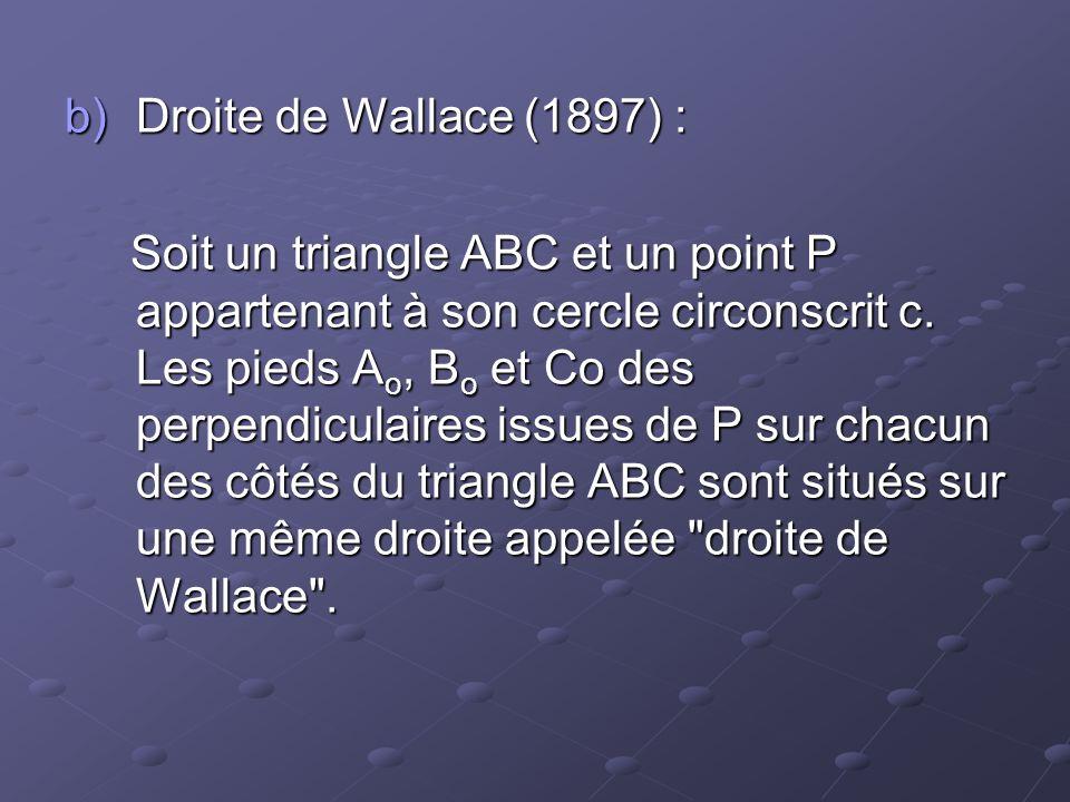 Droite de Wallace (1897) :