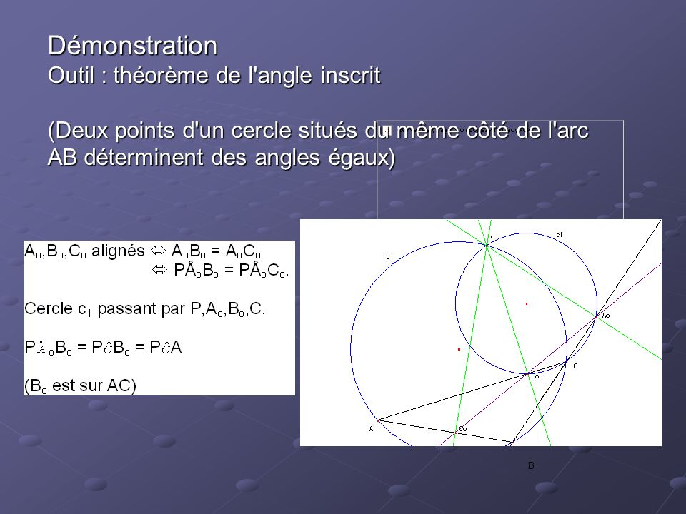 Démonstration Outil : théorème de l angle inscrit