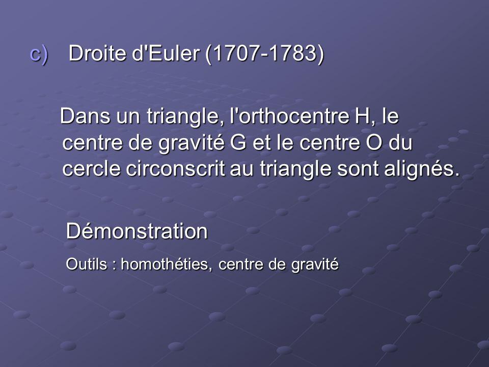 Droite d Euler (1707-1783) Dans un triangle, l orthocentre H, le centre de gravité G et le centre O du cercle circonscrit au triangle sont alignés.