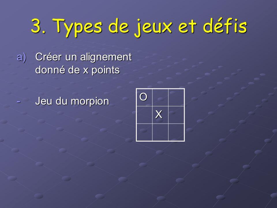 3. Types de jeux et défis O Créer un alignement donné de x points X