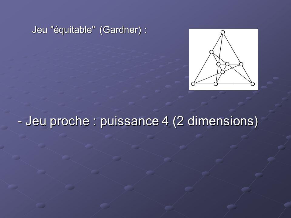 - Jeu proche : puissance 4 (2 dimensions)