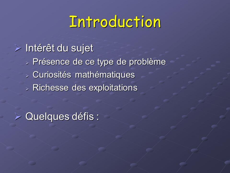 Introduction Intérêt du sujet Quelques défis :