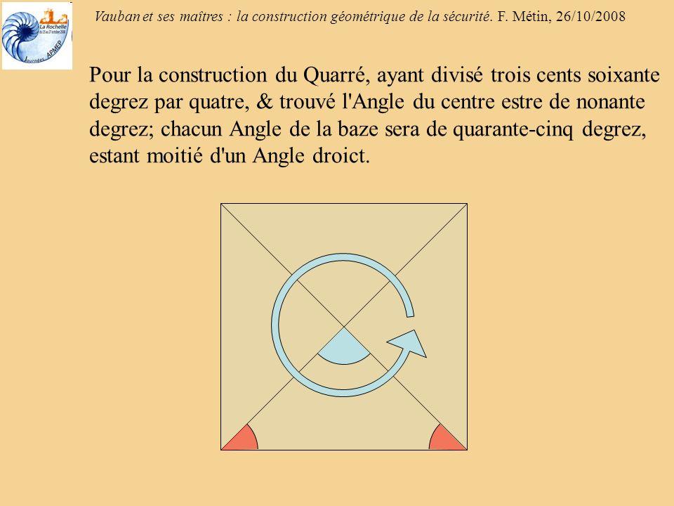 Pour la construction du Quarré, ayant divisé trois cents soixante degrez par quatre, & trouvé l Angle du centre estre de nonante degrez; chacun Angle de la baze sera de quarante-cinq degrez, estant moitié d un Angle droict.