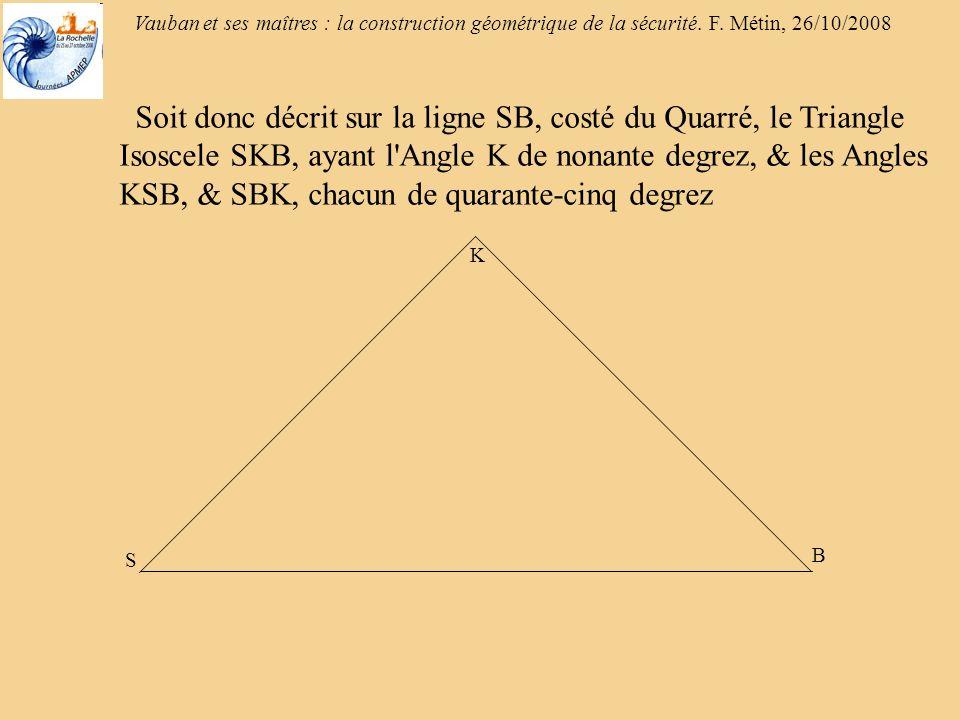 Soit donc décrit sur la ligne SB, costé du Quarré, le Triangle Isoscele SKB, ayant l Angle K de nonante degrez, & les Angles KSB, & SBK, chacun de quarante-cinq degrez