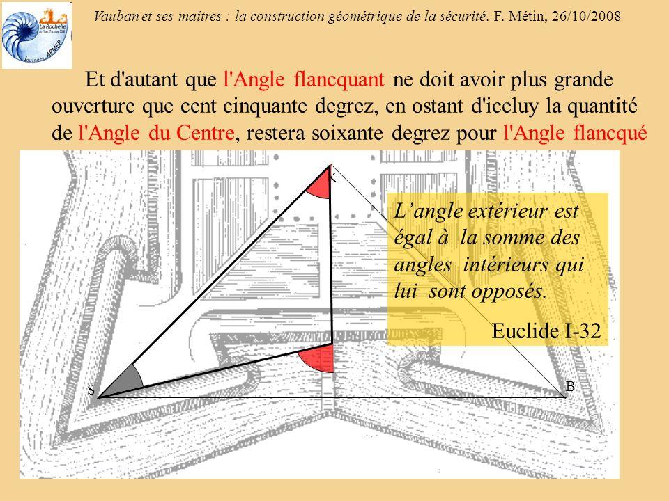 Et d autant que l Angle flancquant ne doit avoir plus grande ouverture que cent cinquante degrez, en ostant d iceluy la quantité de l Angle du Centre, restera soixante degrez pour l Angle flancqué