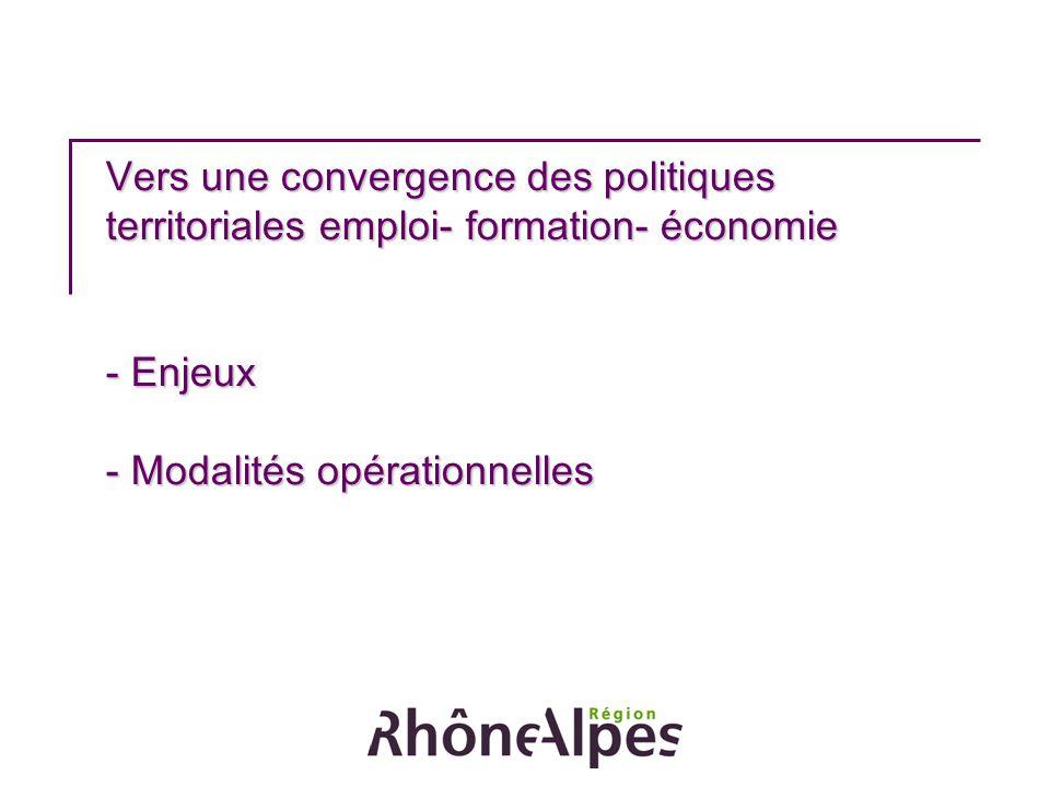 Vers une convergence des politiques territoriales emploi- formation- économie - Enjeux - Modalités opérationnelles