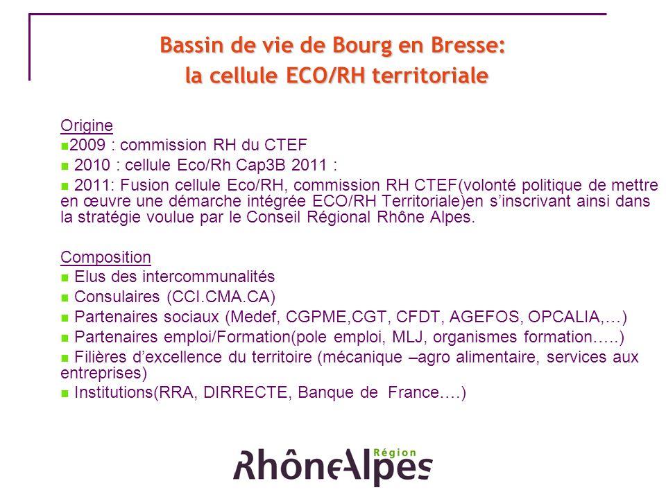 Bassin de vie de Bourg en Bresse: la cellule ECO/RH territoriale