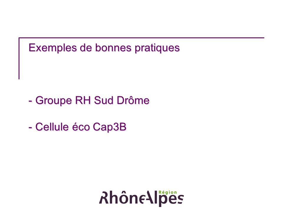 Exemples de bonnes pratiques - Groupe RH Sud Drôme - Cellule éco Cap3B