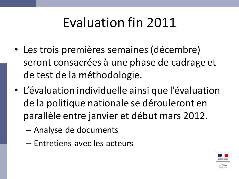 Evaluation fin 2011 Les trois premières semaines (décembre) seront consacrées à une phase de cadrage et de test de la méthodologie.