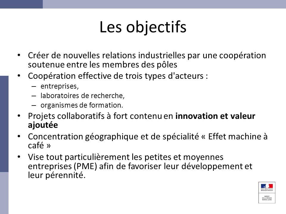 Les objectifs Créer de nouvelles relations industrielles par une coopération soutenue entre les membres des pôles.
