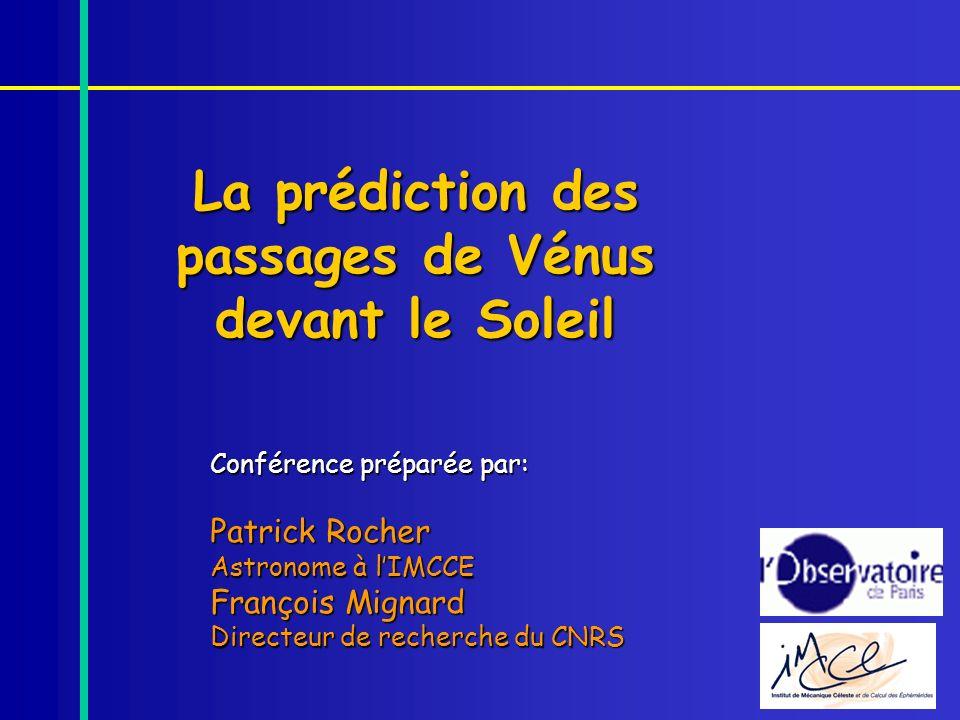 La prédiction des passages de Vénus devant le Soleil
