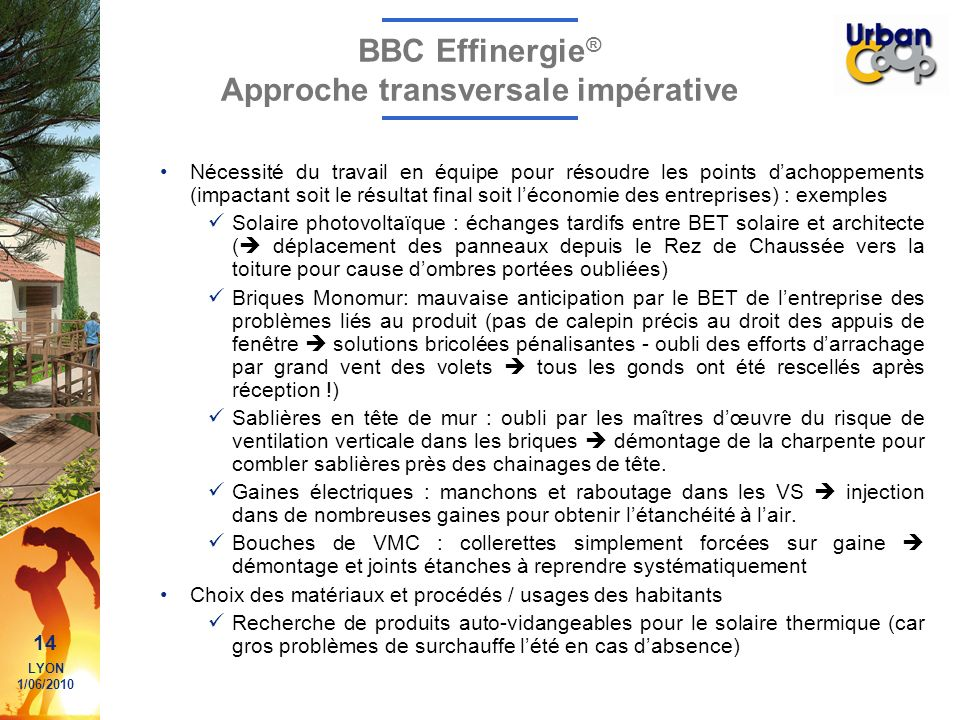 BBC Effinergie® Approche transversale impérative