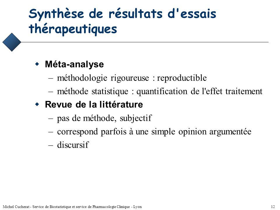 Synthèse de résultats d essais thérapeutiques