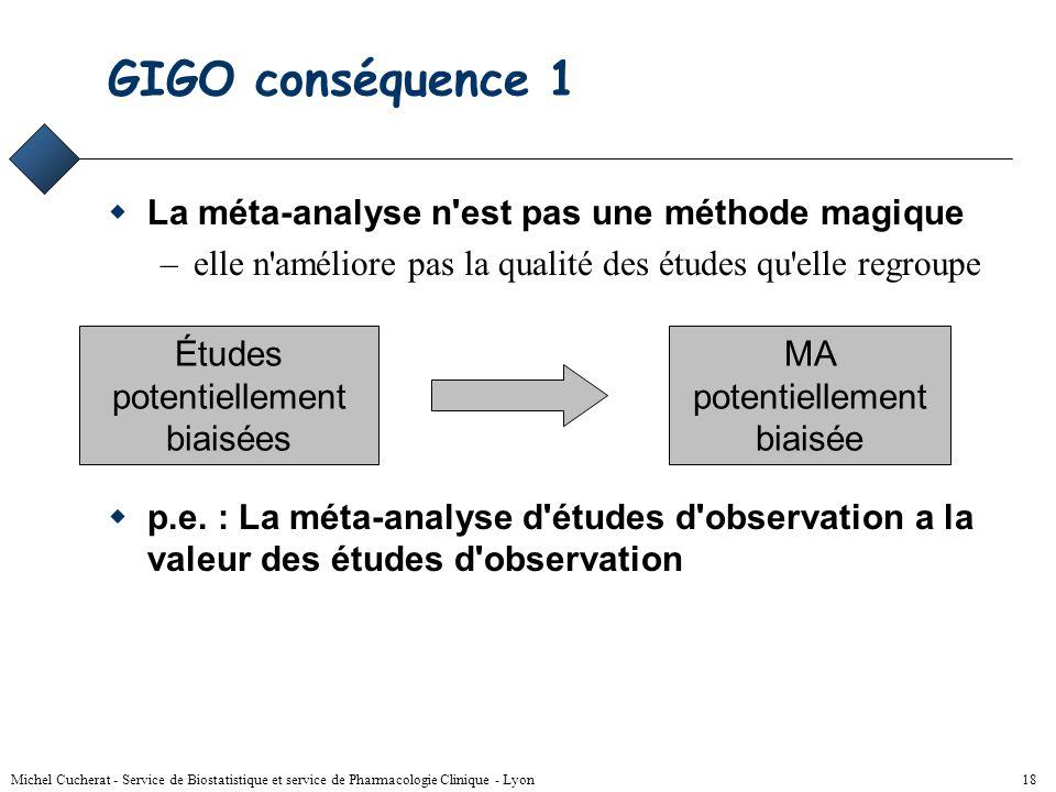 GIGO conséquence 1 La méta-analyse n est pas une méthode magique