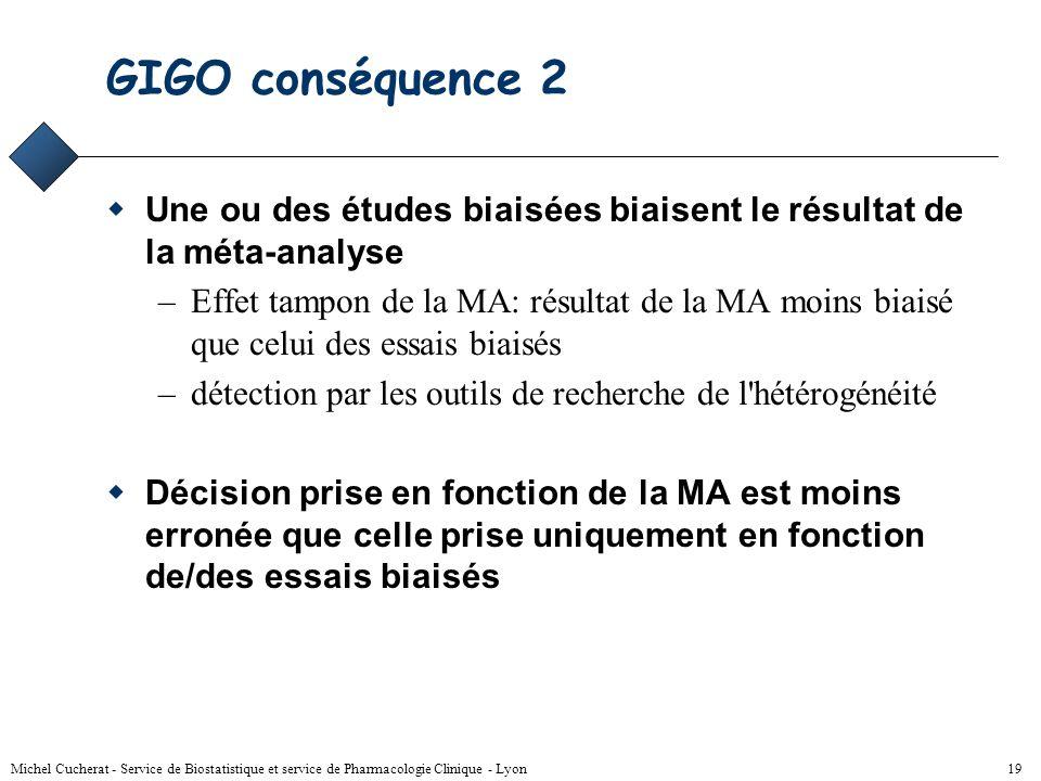 GIGO conséquence 2 Une ou des études biaisées biaisent le résultat de la méta-analyse.