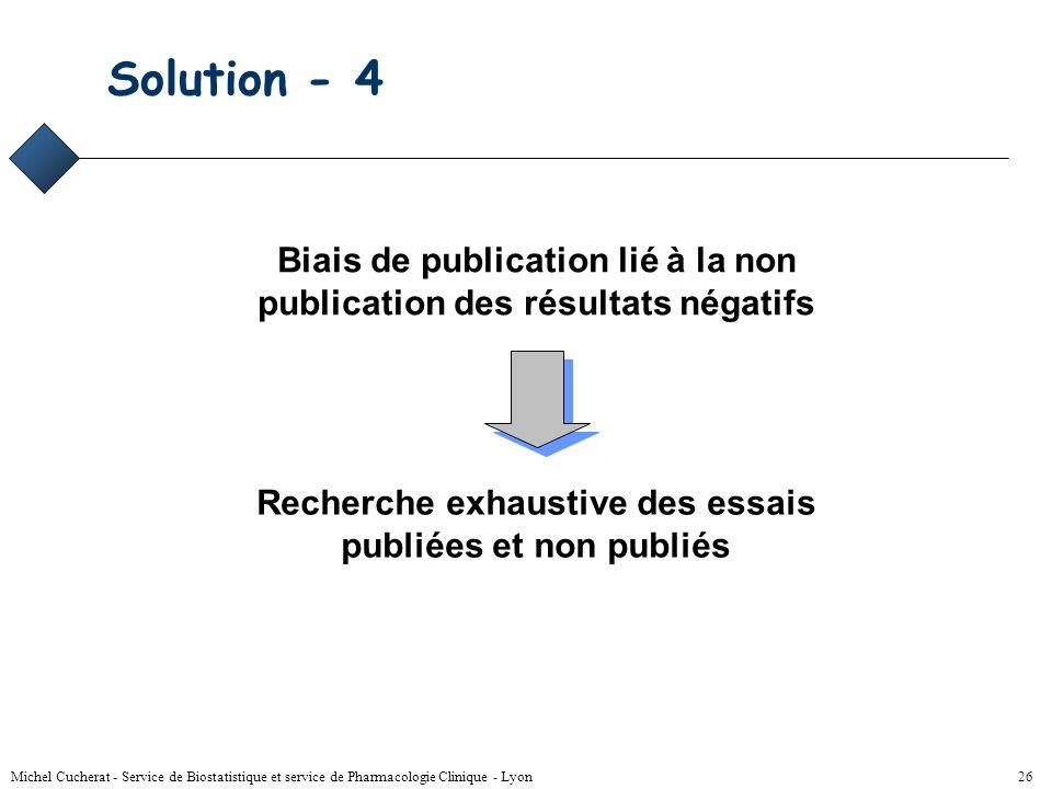Solution - 4 Biais de publication lié à la non publication des résultats négatifs. Recherche exhaustive des essais publiées et non publiés.
