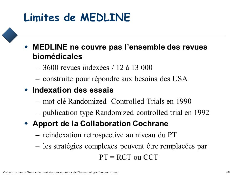 Limites de MEDLINEMEDLINE ne couvre pas l'ensemble des revues biomédicales. 3600 revues indéxées / 12 à 13 000.