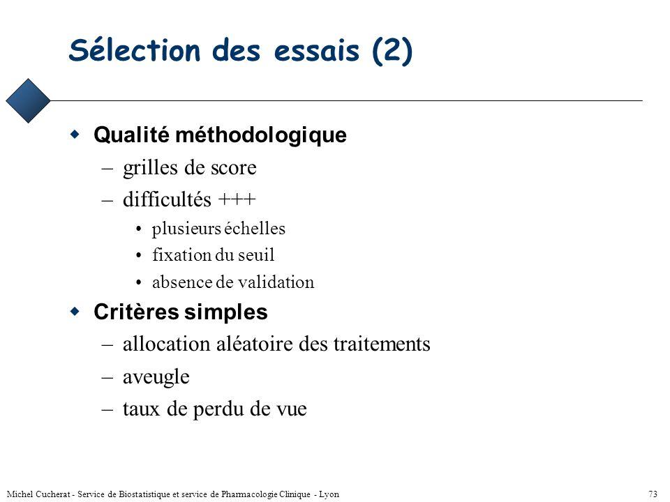 Sélection des essais (2)