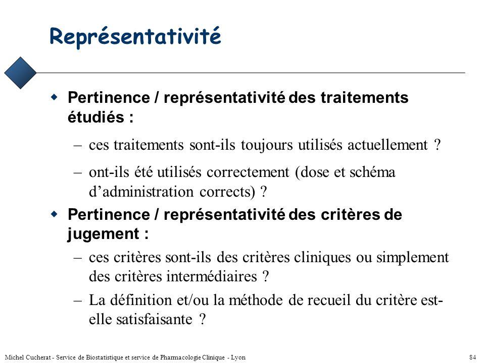 Représentativité Pertinence / représentativité des traitements étudiés : ces traitements sont-ils toujours utilisés actuellement