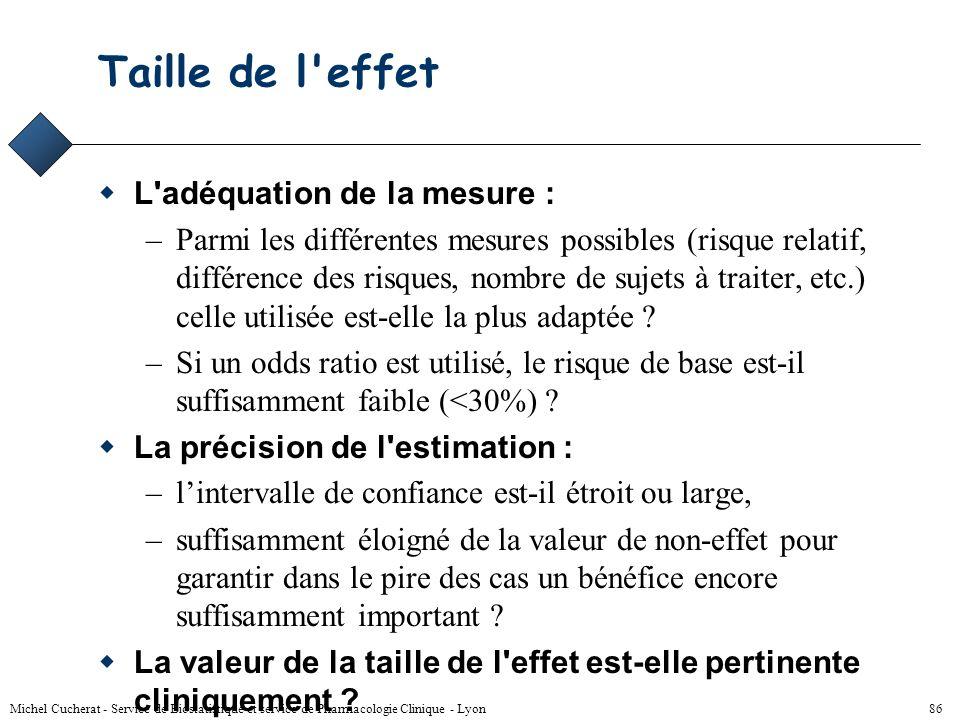 Taille de l effet L adéquation de la mesure :