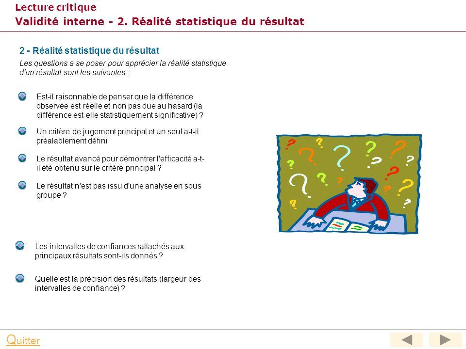 Validité interne - 2. Réalité statistique du résultat