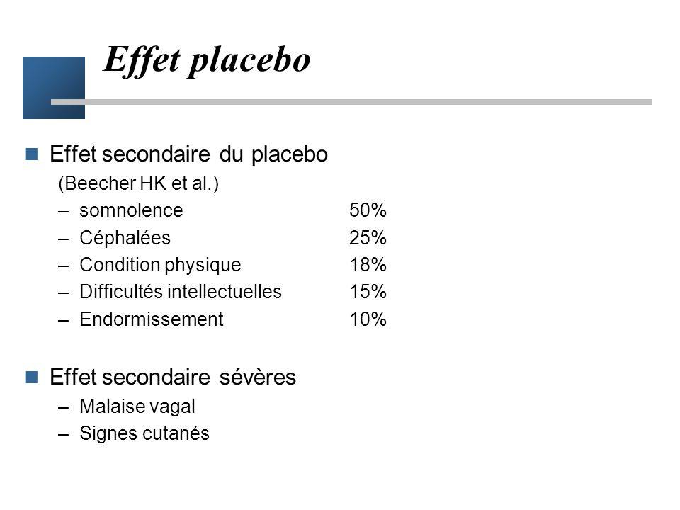 Effet placebo Effet secondaire du placebo Effet secondaire sévères