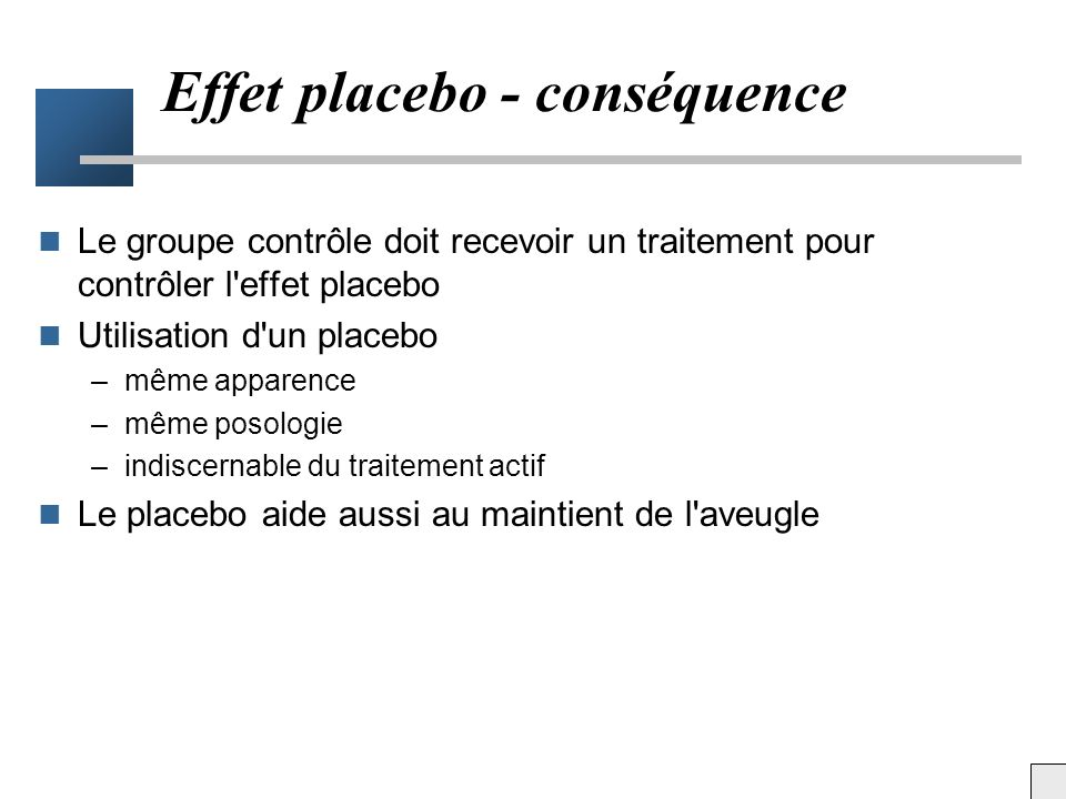 Effet placebo - conséquence