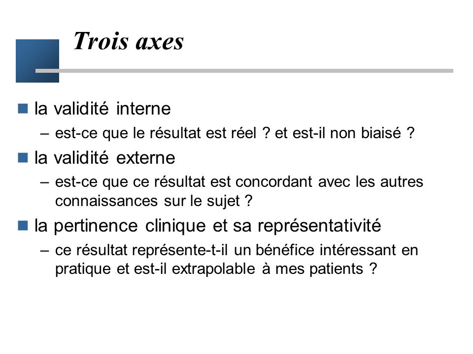 Trois axes la validité interne la validité externe
