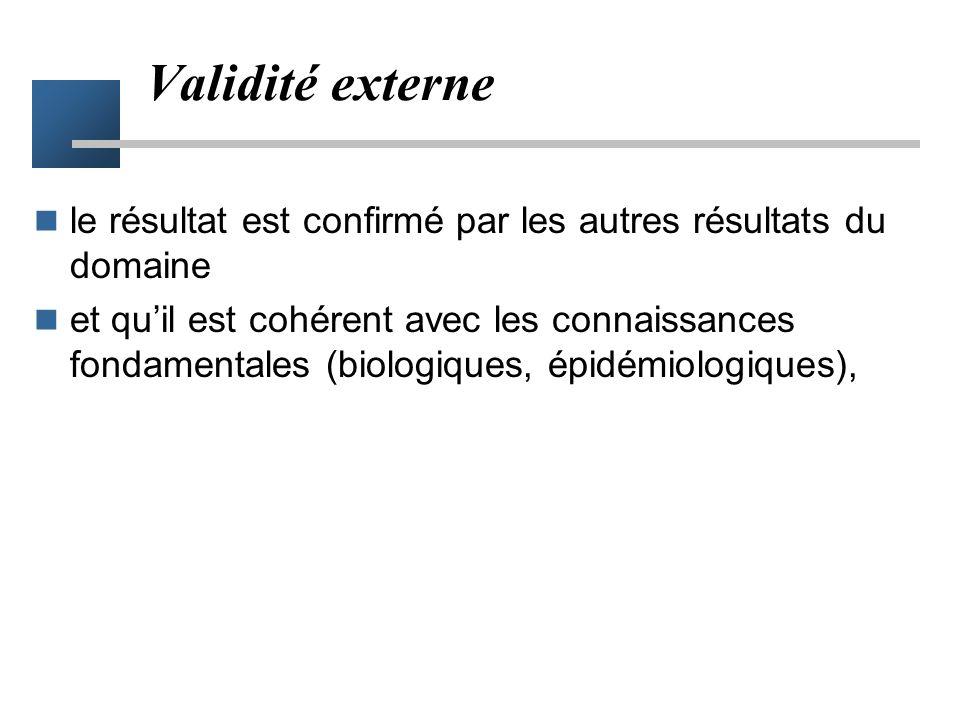 Validité externe le résultat est confirmé par les autres résultats du domaine.