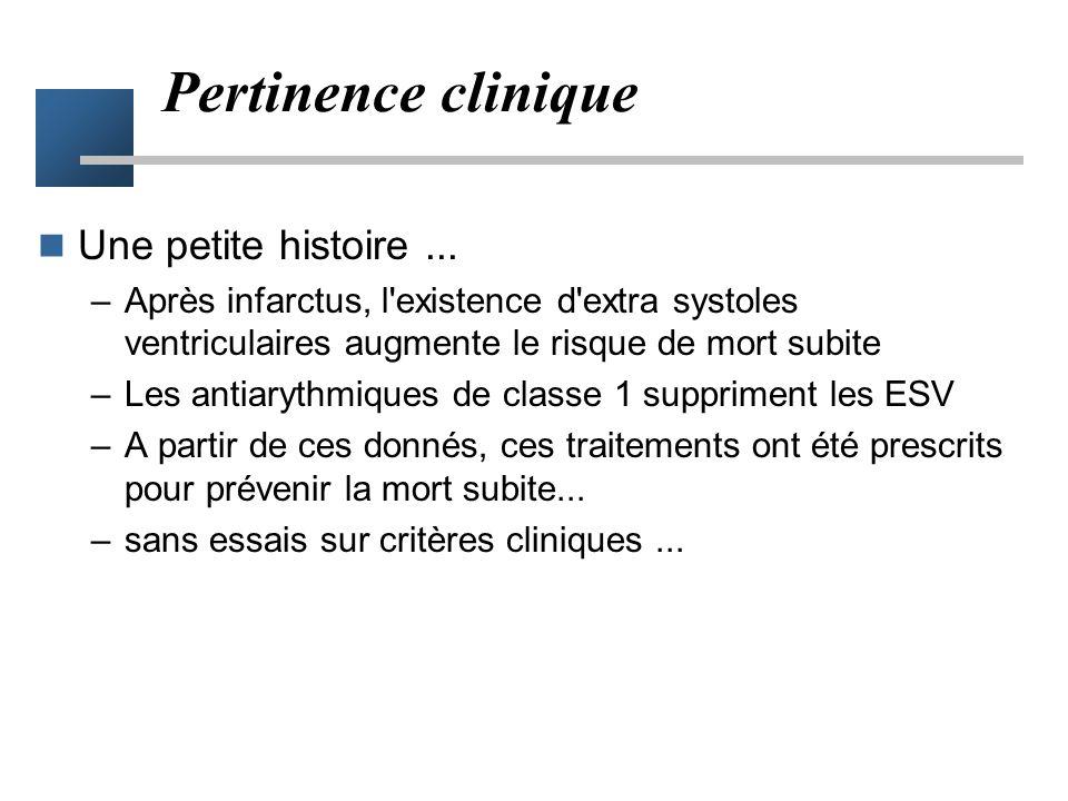 Pertinence clinique Une petite histoire ...