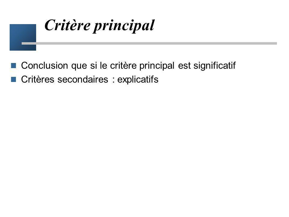 Critère principal Conclusion que si le critère principal est significatif.