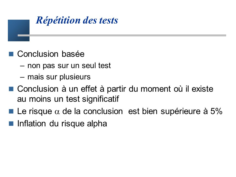 Répétition des tests Conclusion basée
