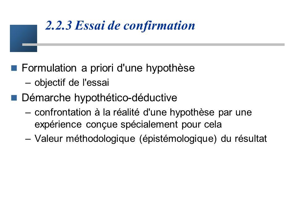 2.2.3 Essai de confirmation Formulation a priori d une hypothèse