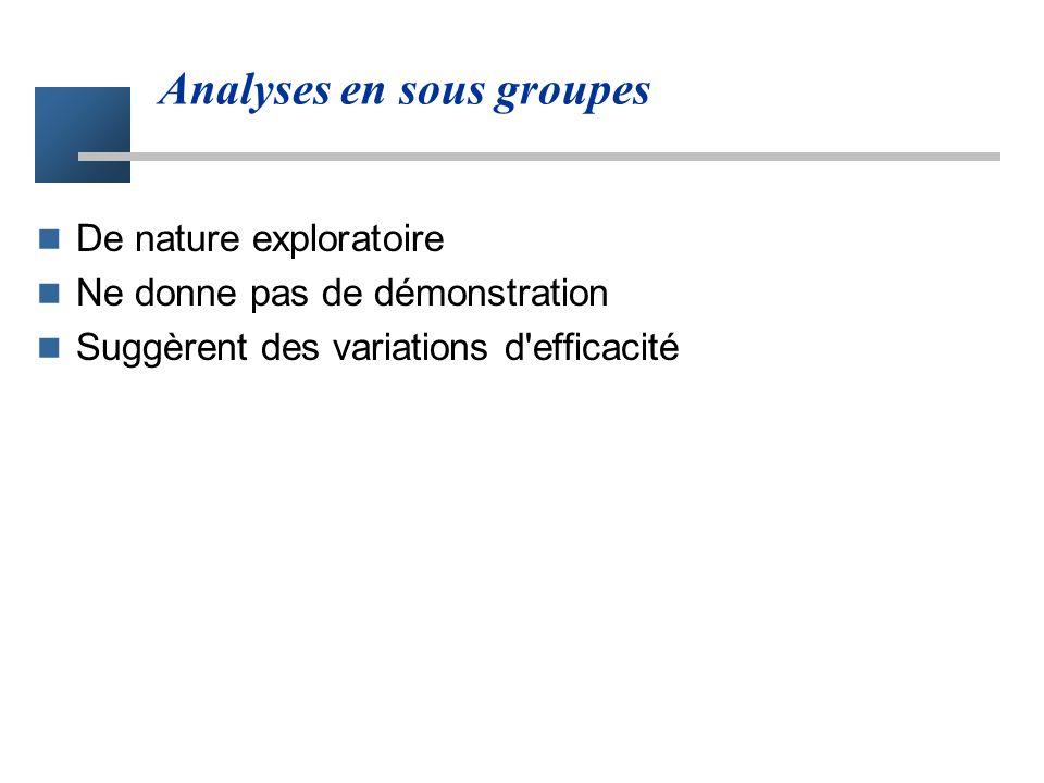 Analyses en sous groupes