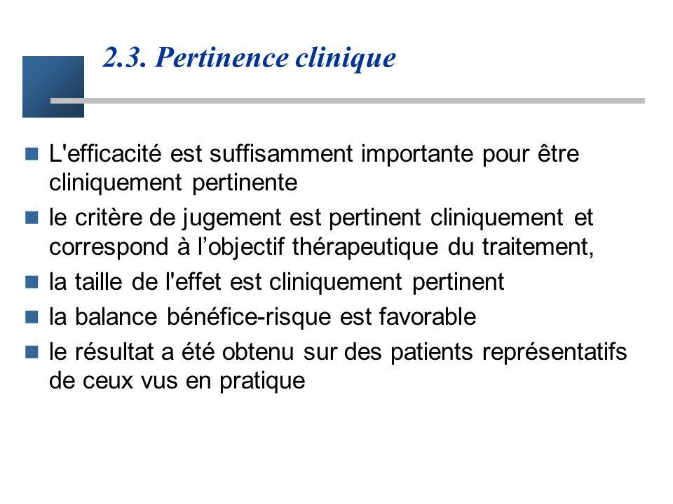 2.3. Pertinence clinique L efficacité est suffisamment importante pour être cliniquement pertinente.
