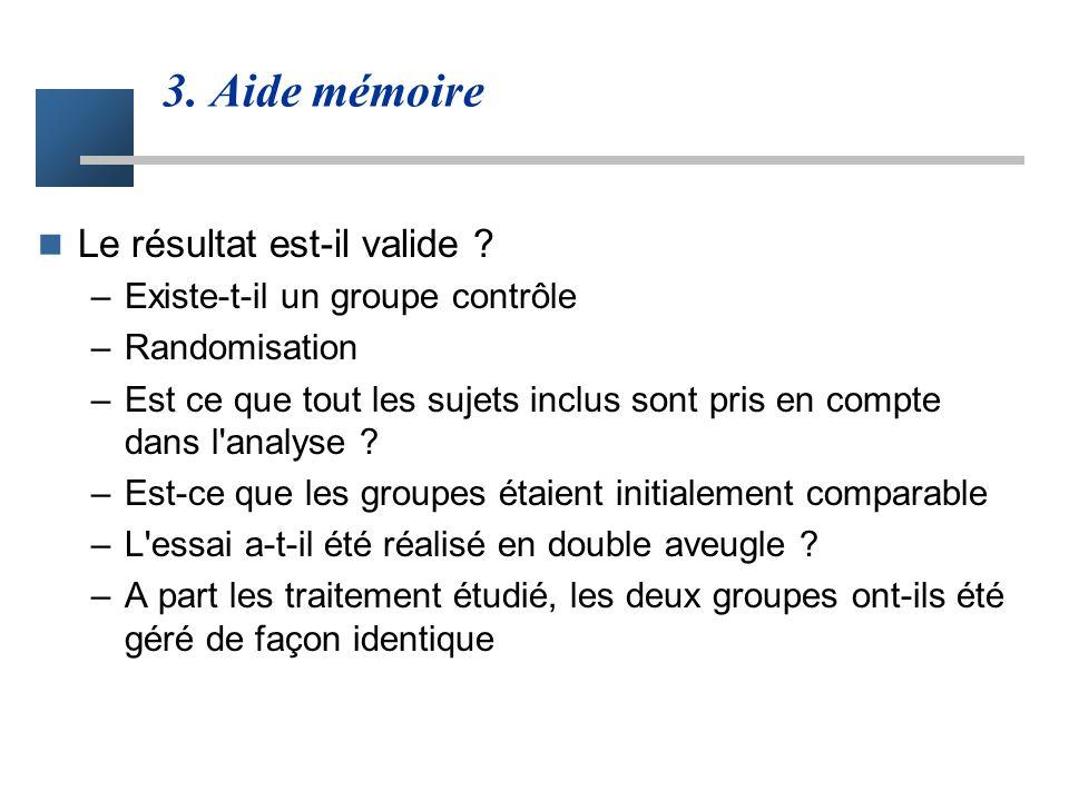 3. Aide mémoire Le résultat est-il valide