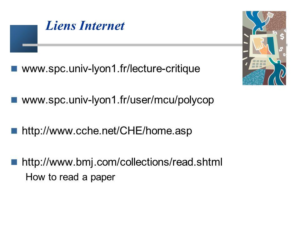 Liens Internet www.spc.univ-lyon1.fr/lecture-critique