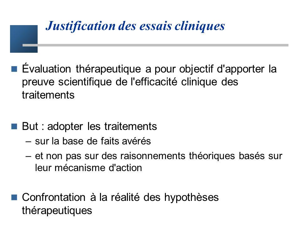 Justification des essais cliniques