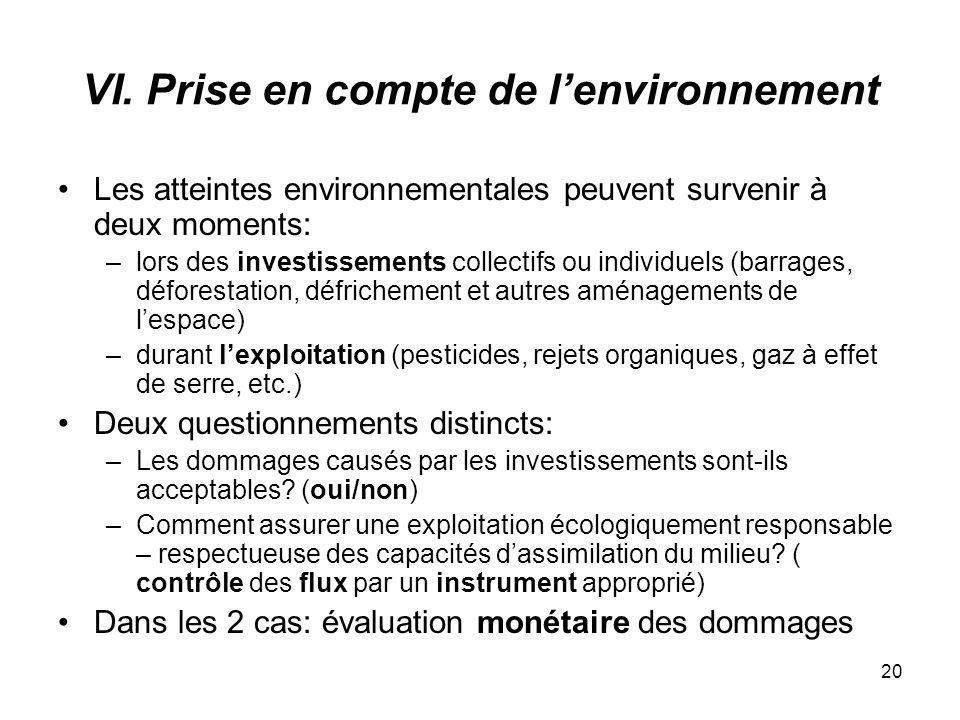 VI. Prise en compte de l'environnement