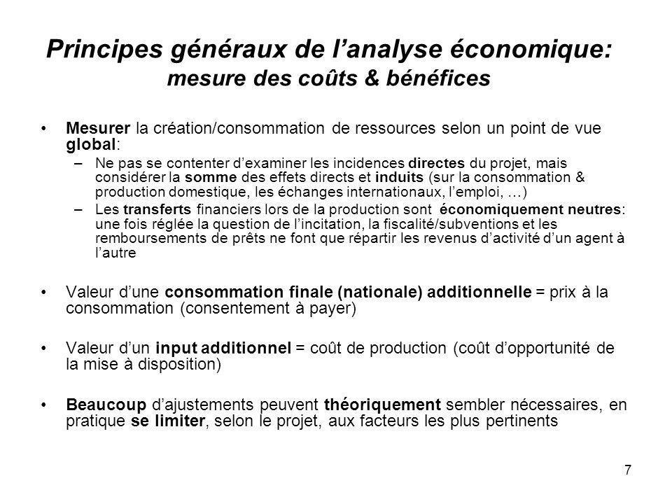 Principes généraux de l'analyse économique: mesure des coûts & bénéfices