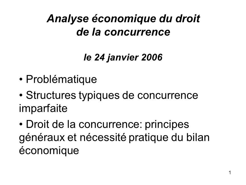 Analyse économique du droit de la concurrence le 24 janvier 2006
