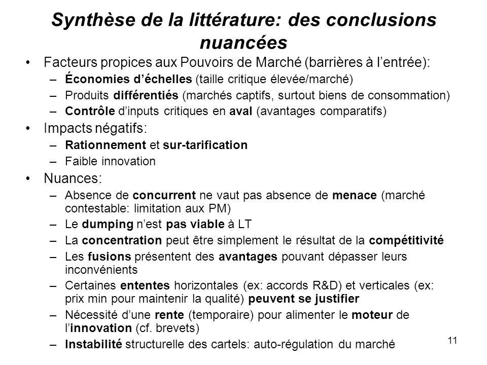 Synthèse de la littérature: des conclusions nuancées