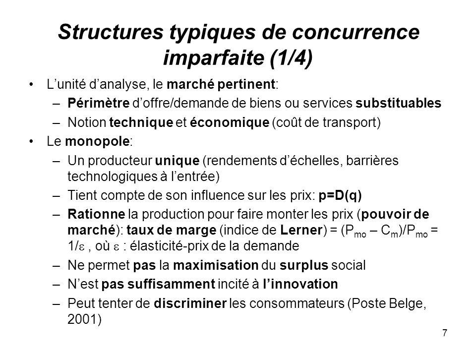 Structures typiques de concurrence imparfaite (1/4)