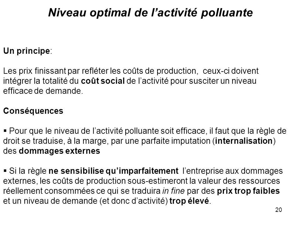 Niveau optimal de l'activité polluante